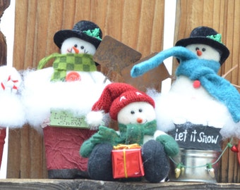 Snowmen ornaments - stocking stuffers - package tie ons - Let It Snow - Christmas ornaments