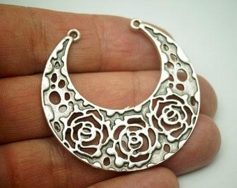 2pcs Matte Silver Plated Base Tribal , Roses Filigree Pendant - 45x45mm-(424-019SP)