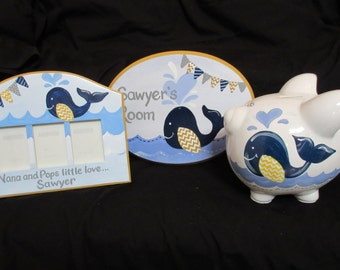 personalized piggy bank banner sawyer whale