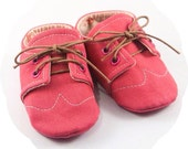 Canvas Brogue Wingtip Lace-Up Baby Crib Shoes >> Pink { sizes 1-5 } Chariots Afire Shower Gift Toddler Booties Girly Cotton Handmade Unique