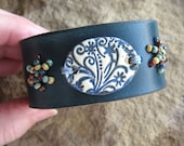 Blue and Cream Ceramic Focal Leather Cuff Bracelet
