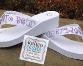 Custom Bride Glitter Flip Flops
