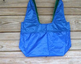 Royal Blue and Kelly Green Parachute Market Bag