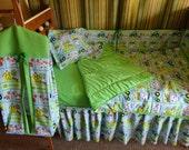 Custom Made John Deere Green kids  New Design Barnyard Baby  Crib Nursery Set