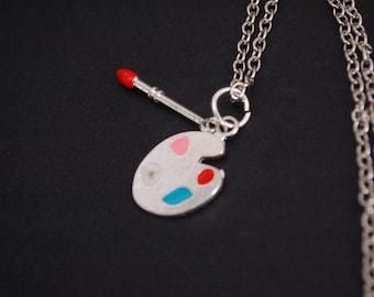 artist paint palette necklace