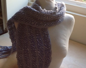 Super soft blue and white wool scarf