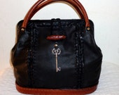 Handmade with Love Frame bag  Doctors bag buttery soft thick black deerskin top frame opening braided lacing accents