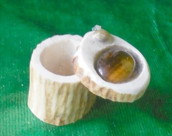 Tiger Eye Shed Elk Antler Box Small Size Cruelty Free Antler Semiprecious Stone Gemstone Inlay OlyTeam