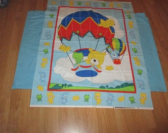 Pre Printed Fabric Panel Animals Hot Air Balloon Cheater Baby Blanket