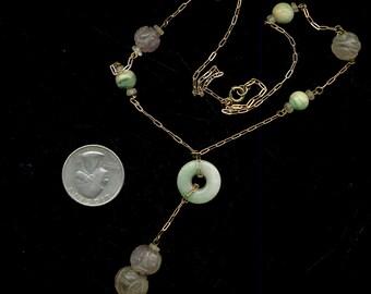 Vintage 14k Gold Jade Amethyst Chain Necklace