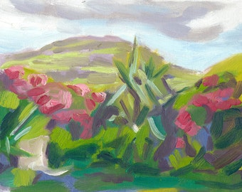 original landscape oil painting small canvas 6x8 A Garden on Skye