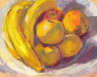 oil painting still life small 6x8 canvas Yellow Fruit, Purple Shadows