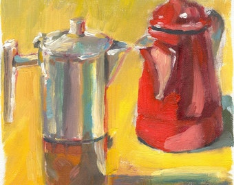 still life oil painting on canvas small Coffee Pots Conversing