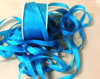 4mm  Teal Silk Ribbon  5 yards
