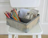 Vintage Divided Bin Basket Box Industrial Storage Metal