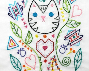 PDF Pattern Kitty Cat Hand Embroidery Southwest Doodle