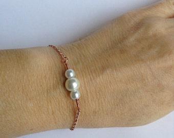 Rose Gold Bracelet, Pearl Bracelet, Rose gold bracelets, Bridal Gift, Bridal Jewelry, faux pearl bracelet