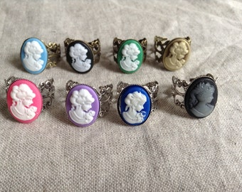 Cameo Rings, cameo filagree adjustable ring, bridal jewelry, customizable jewelry,