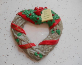 1994 Hallmark Our First Christmas Together Heart Shaped Wreath Photo Christmas Ornament