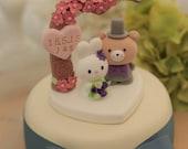 rabbit and bear wedding cake topper---k957