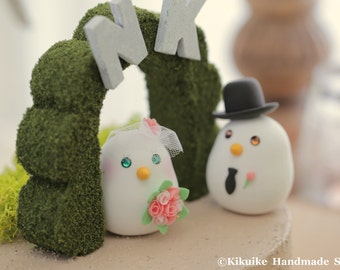 love bird with flower tree Wedding Cake Topper (K304)