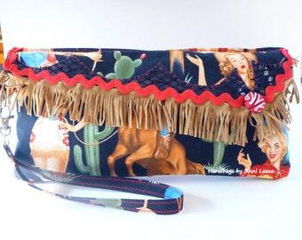 Retro Rockabilly clutch, cowgirl wristlet, western bag, pinup girls, western purse, western wear, country western wedding, evening bag