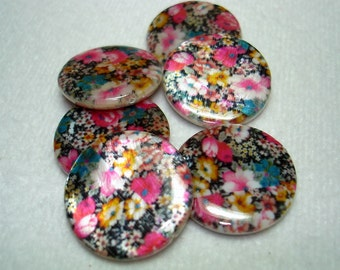 Floral Flat Round Printed Shell Beads (Qty 6) - B2777