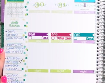 PIYO program Stickers Printable - Rainbow - Instant Download - to fit your Erin Condren Weekly Boxes