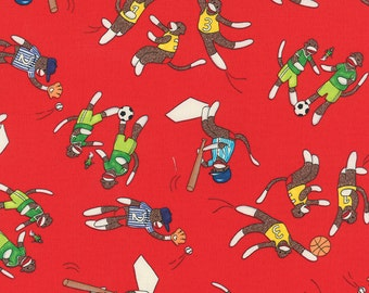 Sock Monkey fabric | Boys Sports Red  26081 12 | Cotton Quilting fabric