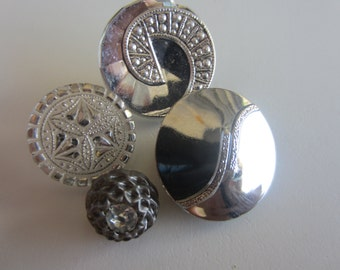 Vintage buttons, 4 assorted, coordinated and beautiful pressed glass, hand painted, silver metallic, 1 acrylic rhinestone (mar 374)