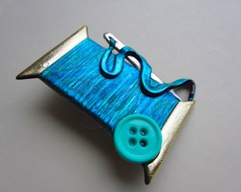 Sewing Needle and Thread Pin in teal blue brooch with button