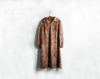 vintage 60s Autumn Fabulous Paisley Print Polyester Ladies Dress - M L