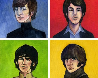 "All 4 Beatles - 5""x5"" painting prints. REDUCED PRICE package deal."