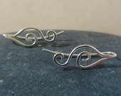 Double curl leaf sterling earring pins, ear climber cuff earrings ear sweep