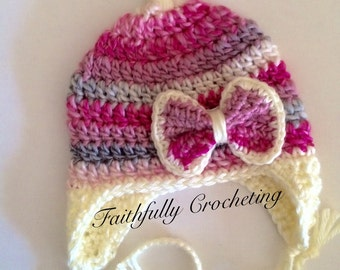 Newborn girl hat.. Ear flap bow beanie.. Ready to ship.. Photography prop