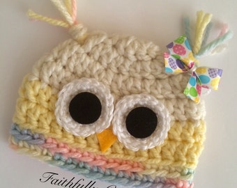 Newborn owl hat... Photography prop.. Ready to ship