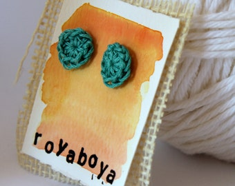 crochet earrings turquoise round stud nickel free post bridesmaid mothers day gift