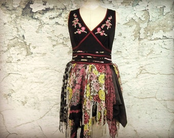 S-M Bohemian Gypsy Upcycled Dress// Embroidered// Black Multi Colored// emmevielle