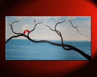 Light Blue Love Bird Painting Large Seascape and Cherry Blossom Art Huge Original Art Ocean and Moon 48x24