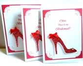 Will you be my Bridesmaid Card Maid of Honor Matron of Honor Glittered shoe Bridesmaid Invites