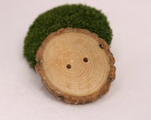 6 Hardwood Wooden Button with Bark for knitting, crochet, hats, scarves, and accessories