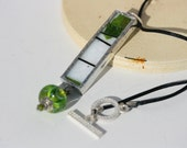 SPRING LEAF handmade stained glass necklace pendant