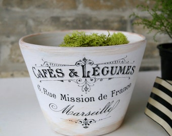 Handmade Planter with French Calligraphy