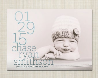 baby announcement, photo birth announcement, modern baby announcement