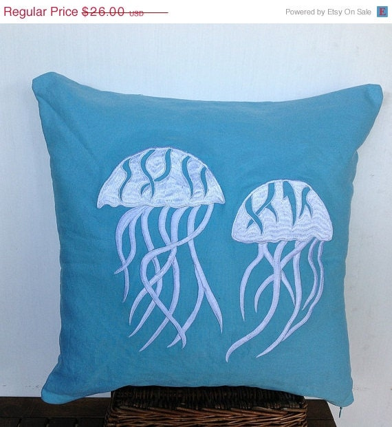 Throw Pillows In Clearance : 30% Stock Clearance Decorative pillows Jellyfish by Snazzyliving