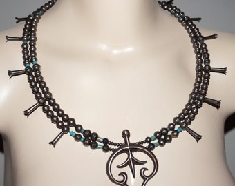 """Early Vintage 28"""" Navajo Sterling Turquoise Squash Blossom Necklace Estate 3 OZ"""