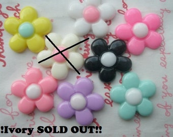 Colorful Daisy flower cabochons Set 8pcs ( Ivory one Sold out )