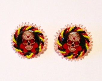 Day of the Dead skull beaded post earrings