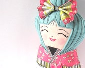 Kokeshi Doll, Handmade Asian Doll, Smiling Doll, Japanese Kokeshi Doll, Collectible, Happy Doll