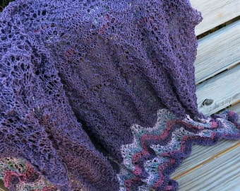 Hand Knit Lap Throw - Linen Cotton Blanket - Lace Throw - Purple, Sage, Pink Throw - Knit Throw